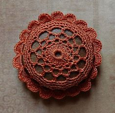 Miniature Art, Crochet Lace, Clay Stone, Tiny, Flower, Original, Table Decorations, Home Decor, Beige Thread, Handmade,