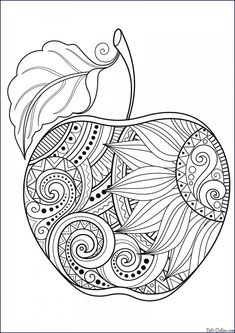 Zentangle Apple 🍎 Coloring Page - Did You Know That There Are Thousands Of Different Varieties Of Apples? Including Fuji, Gala, Red Delicious, Golden Delicious, Pink Lady and Granny Smith. Apple Coloring Pages, Mandala Coloring Pages, Free Coloring Pages, Printable Coloring Pages, Coloring Books, Sunflower Coloring Pages, Fall Coloring, Coloring Sheets, Buch Design