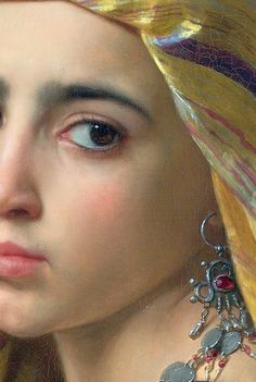 Traveling through history of Art...Girl with a pomegranate, detail, by William-Adolphe Bouguereau, 1875.