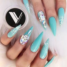 Blue Glitter Ombre Nails Decorated With Rhinestones #bluenails #stilettonails #rhinestonesnails ❤️ Ombre glitter nails are your favorite ones if you follow the trends and know about most fashionable designs these days. ❤️ See more: https://naildesignsjournal.com/ombre-glitter-nails-designs/ #naildesignsjournal #nails #nailart #naildesigns #ombrenails #glitternails #glitterombrenails