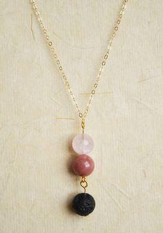 Lava Bead Diffuser Necklace Pink Petrified Wood by GemstoneWorks
