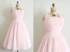 vintage 1950s dress // 50s pink prom dress // by TrunkofDresses, $128.00