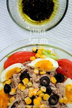 Mediterranean style easy tuna salad with cheating sauce. By adding truffle balsamic glaze, this healthy dish will become much more delicious.