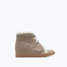 Leather high-top sneaker Zara