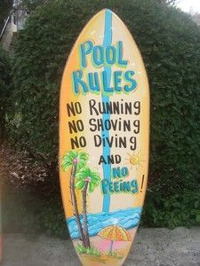 Poolside Signs Decorations   POOL-RULES-TROPICAL-SURFBOARD-DECORATIVE-ART-TIKI-HUT-BAR-BEACH-PLAQUE ...