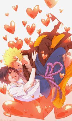 Naruto x Sasuke with hearts :) Sasuke X Naruto, Anime Naruto, Naruto Cute, Kakashi Hatake, Naruto Shippuden, Anime Guys, Boruto, Sasunaru, Narusasu