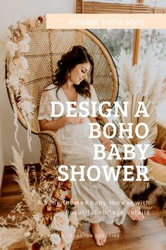 Create a vintage boho style theme for a neutral baby shower. Soft + neutral tones for a vintage boho style baby shower. How to design a boho themed vintage baby shower with neutral colour palette. Vintage boho wicker furniture used to style a bohemian themed baby shower can be rented via Orange Trunk VIntage Rentals in Calgary, Alberta, Canada. Bohemian Design, Boho Designs, Vintage Bohemian, Boho Baby Shower, Baby Shower Themes, Shower Inspiration, Style Inspiration, Boho Gown, Boho Theme