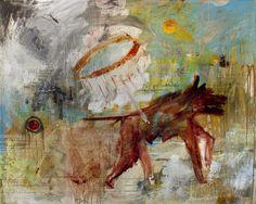 "Saatchi Art Artist Ron Cavedaschi; Painting, ""red ***** (female dog) 2."" #art"