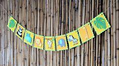 Safari Jungle Zoo Animal Banner Birthday Banner by JoyfulCraftShop