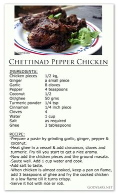 What makes Chettinad Cuisine one of the most famous in India? Indian Chicken Recipes, Easy Chicken Recipes, Indian Food Recipes, Recipes In Tamil, Pepper Chicken, Chicken Stuffed Peppers, Curry Recipes, Vegetarian Recipes, Goan Recipes