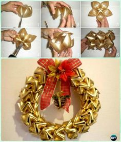 DIY Plastic Bottle Flower Wreath Instructions- Christmas Wreath Craft Ideas Holiday Decoration