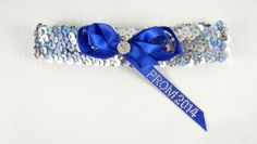 Silver Sequin Prom Garter with Royal Blue Bow