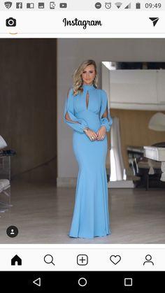 Vestido longo azul claro African Fashion Dresses, African Dress, Fashion Outfits, Womens Fashion, Elegant Dresses, Sexy Dresses, Beautiful Dresses, Dressy Dresses, Dream Dress