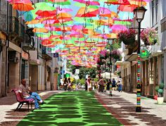 Umbrella installation in Àgueda, Portugal. (Photo taken by Patrícia Almeida.)