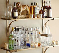 Brass Shelf | Pottery Barn  great idea for a bar shelf
