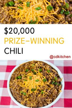 An outstanding chili recipe made with beef and pork, beer, tomato sauce, spices, and a hint of cocoa powder for that prize-winning flavor. | CDKitchen.com Best Chili Recipe, Chilli Recipes, Beef Recipes, Soup Recipes, Healthy Recipes, Chili Recipe With Cocoa Powder And Beer, Chili Cookoff Winner Recipe, Chili Con Carne