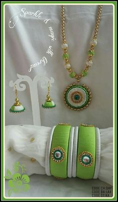 To order, pls what's app on 9704084116 Silk Thread Earrings Designs, Silk Thread Bangles Design, Silk Thread Necklace, Silk Bangles, Thread Jewellery, Bangles Making, Jewelry Making Tutorials, Jewelry Patterns, Bead Earrings