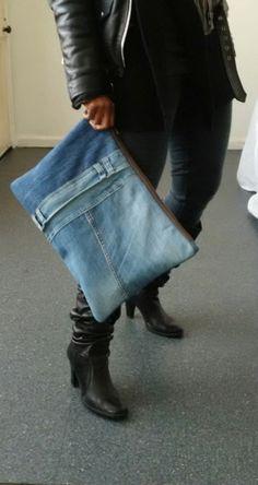 riciclato Pochette denim jeans denim grande frizione di reloveduk