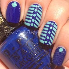 blue and tuquoise nails by Aggies Do It Better