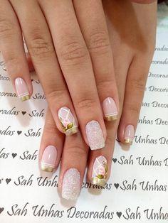 69 Fotos de Unhas Decoradas com Rosas Nails 2018, How To Make Hair, Spring Nails, Pedicure, Hair And Nails, Nail Art Designs, Acrylic Nails, Makeup, Beauty