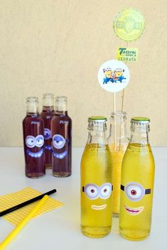Fun drinks at a Despicable Me Minions baby shower party! See more party planning ideas at CatchMyParty.com!