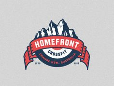 Homefront Crossfit - Final emblem and Logo mark by Emir Ayouni for Forefathers™ Logo Inspiration, Logo People, Hipster Graphic Design, Crossfit Logo, Gym Logo, Ribbon Logo, Ribbon Banner, Logos Retro, Web Design