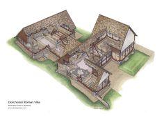 Restoration of Dorchester Roman Villa by John R. Ancient Roman Houses, Ancient Buildings, Ancient Rome, Ancient History, Revival Architecture, Roman Architecture, Historical Architecture, Ancient Architecture, Fantasy Castle