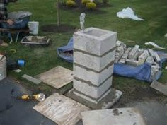 rock driveway columns - Bing images