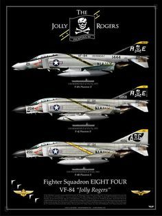 "UNITED STATES NAVY Fighting EIGHT FOUR (VF-84) ""The Jolly Rogers"" USS INDEPENDENCE (CV-62), 1964USS ROOSEVELT (CVN-71), 1971USS ROOSEVELT (CVN-71), 1975"