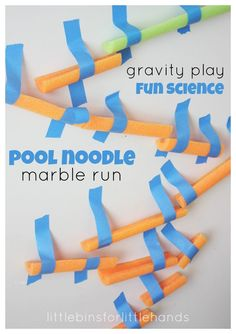 ideas for a race track in a building on the wall | Pool Noodle Marble Run Building Activity for Kids