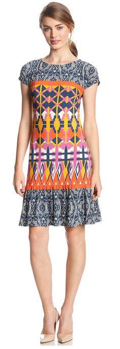 Women's Cap-Sleeve Drop-Waist Printed Dress