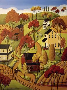 Original Painting Folk Art Landscape Autumn Horse Mending Fences Country