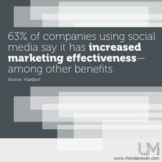 63% of companies using social media say it has increased marketing effectiveness - among other benefits. #BeUnstoppable #mediaandthecity #brandit #UnstoppableMomma #Entrepreneur #PersonalBranding #SocialMediaStrategist #HowToPersonallyBrandYou #HowToBecomeAnAuthorityInYourNiche #OnlineMarketingStrategiesForNewbies #PersonalBrandingStrategy