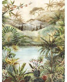 Tropical Scene by Eijffinger - Multi - Mural : Wallpaper Direct Wallpaper Samples, Print Wallpaper, Green Wallpaper, Latest Wallpapers, Inspirational Wallpapers, Tropical Decor, Tropical Interior, Bold Prints, Home Decor Ideas