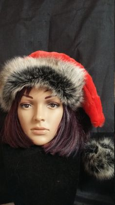 f96e34b2e34e7 Items similar to Limited Edition plush red Santa hat with dark mink trim on  Etsy