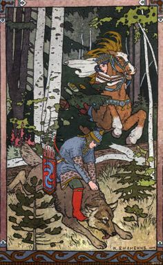 Bilibin, Illustration from the 'Tale of Ivan Tsarevish, the Firebird and the Grey Wolf', 1899.