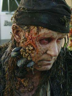 "Actor Stellan Skarsgård's ""Bootstrap"" Bill Turner makeup by key makeup artist Joel Harlow for Pirates of the Caribbean: Dead Man's Chest."