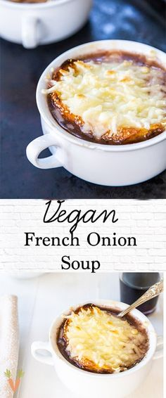 Vegan Soup Recipes: Traditional French onion soup that happens to be vegan. Our vegan French onion soup recipe has a rich bold flavor and delicious melted vegan mozzarella cheese on top. The best dairy-free French onion soup recipe! Vegan Soups, Vegan Dishes, Gourmet Recipes, Vegan Recipes, Cooking Recipes, Vegan French Onion Soup, Onion Soup Recipes, Onion Soups, Cheese Recipes