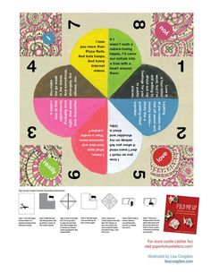 Free printable! A Valentine's Day paper fortune teller illustrated by Lisa Congdon. #cootiecatchers