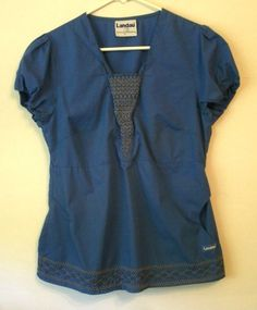 Landau Women's Scrub Top Royal Blue Embroidery at Neck and Hem Sz XS or Small…