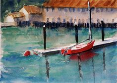 Red Boat,  tom simmons, landscape, marine, boat, nautical, watercolor, impressionistic watercolor, wall art, greeting card, sausalito, fort baker, horseshoe cove