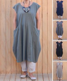 fc7ad2d9bb6 Details about New Plus Size Ladies Italian Lagenlook Quirky Long Boho  Pocket Linen Tunic Dress