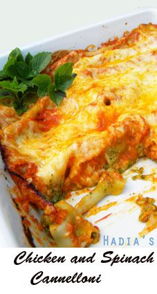 A hearty stuffed cannelloni that has spinach, chicken and béchamel filling, baked with a fresh homemade tomato sauce.  This is a treasured family recipe.  The recipe may sound time consuming.  Don't let that put you off.  It is definitely worth a try.  The dish can be prepared a day ahead and kept in the fridge until you are ready to pop it in the oven.