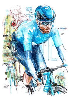 """""""I am back!"""" – Alejandro Valverde, Movistar, gewinnt die 2. Etappe der 69. Valencia Rundfahrt (100 x 70 cm)"""