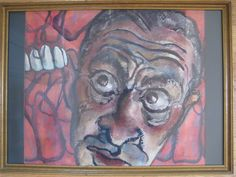 ABSTRACT NEO EXPRESSIONIST SURREALIST PAINTING MAN FACE SIGNED CLIFF GLYNN OLD  #Surrealism