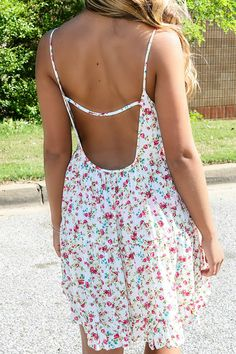 I'll Write Your Name Ivory Floral Open Back Shift Dress