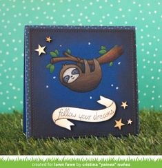 Lawn Fawn - Hang in There, Bannertastic _ card and video tutorial by Yainea for Lawn Fawn blog