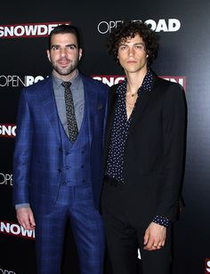 """Zachary Quinto and Miles McMillan at the premiere of """"Snowden,"""" held at the AMC Loews Lincoln Square theater on September 13, 2016 in New York City."""