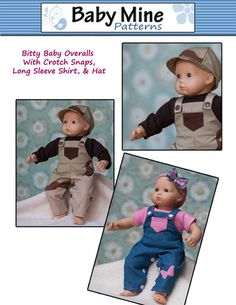 "Check out this adorable Overalls Bundle 15"" Doll Clothes Pattern by Baby Mine Patterns www.pixiefaire.com"