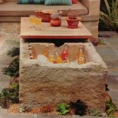 Drink cooler/fire pit/table from old horse trough - Soo neat for backyard!